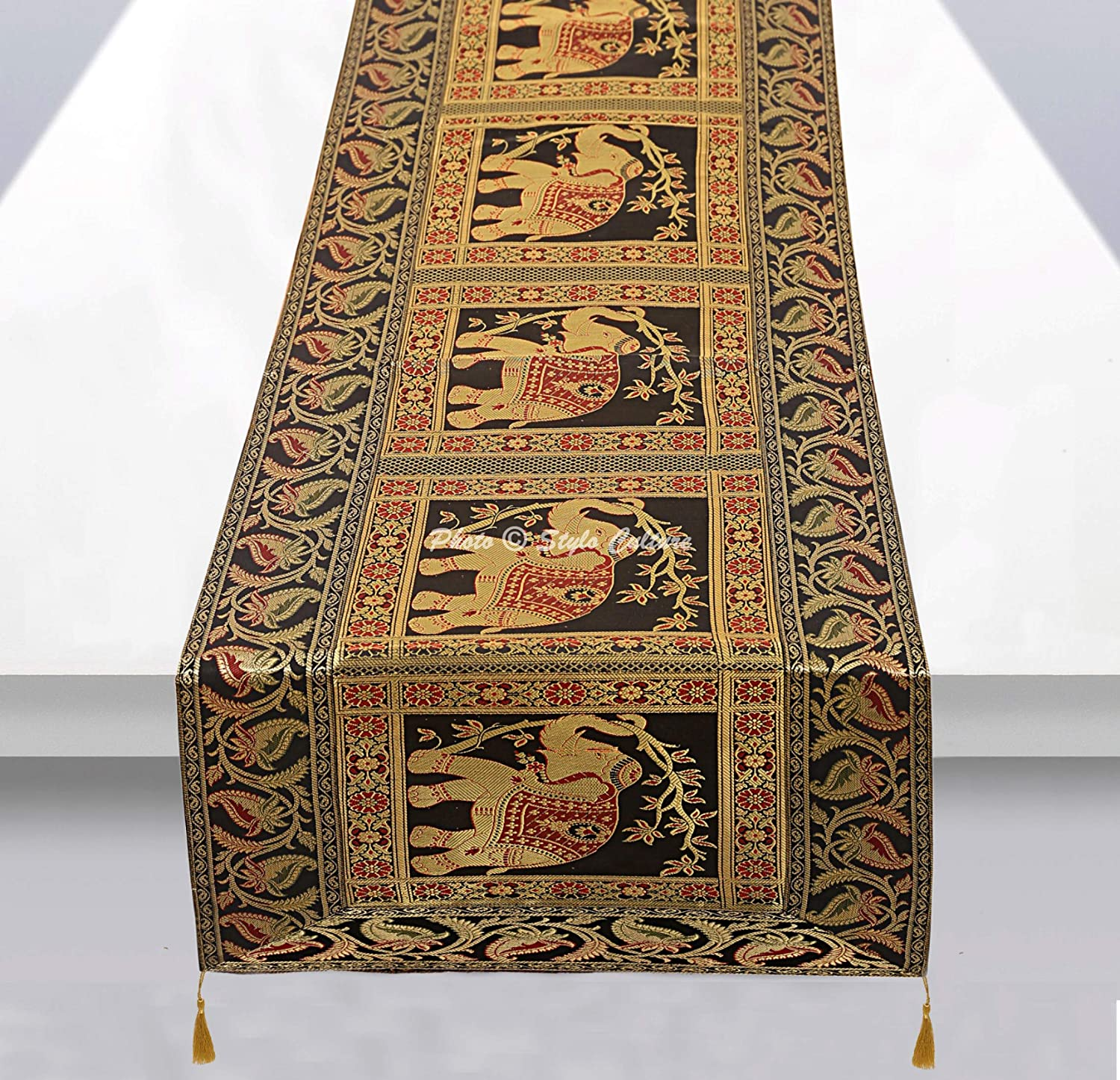 152 x 40 cm 60x16 Inches Stylo Culture Traditional Centre Table Runner For Dining Table Red Brocade Jacquard /& Satin Bohemian Elephant Peacock Floral Extra Long Indian Table Decor