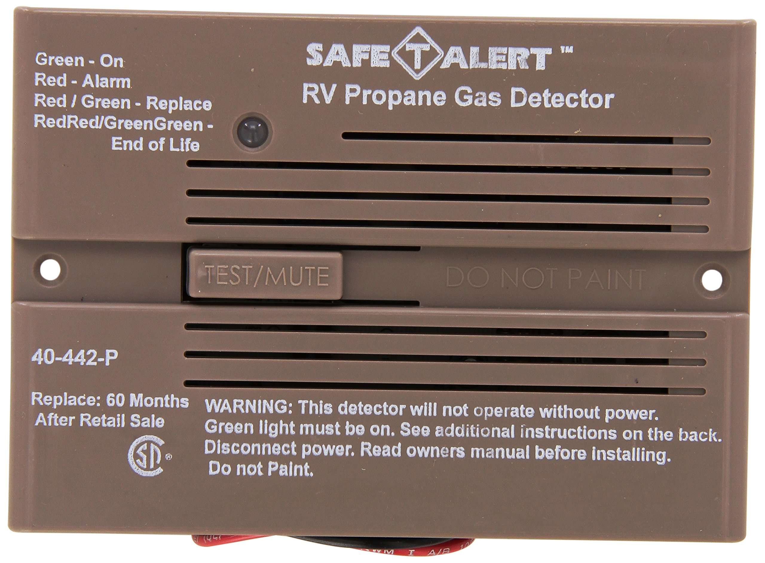 MTI Industries 40-442-P-BR Safe T Alert 40 Series Professional Propane/LP Gas Alarm - Flush Mount, Brown by MTI