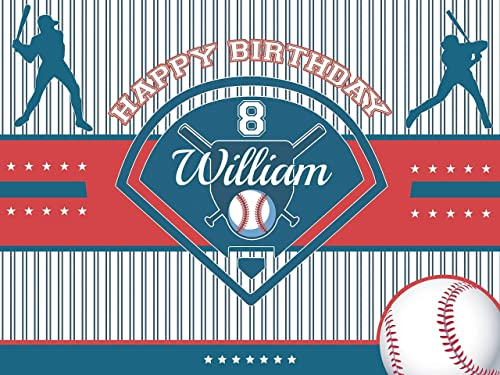 Bat and Ball Emoji Happy Birthday Party Banner 48x24 Personalized Baseball Cap Custom Home Decor Baseball Birthday Poster for Kids Handmade Baseball Party Supply Poster Print Size 36x24 48x36