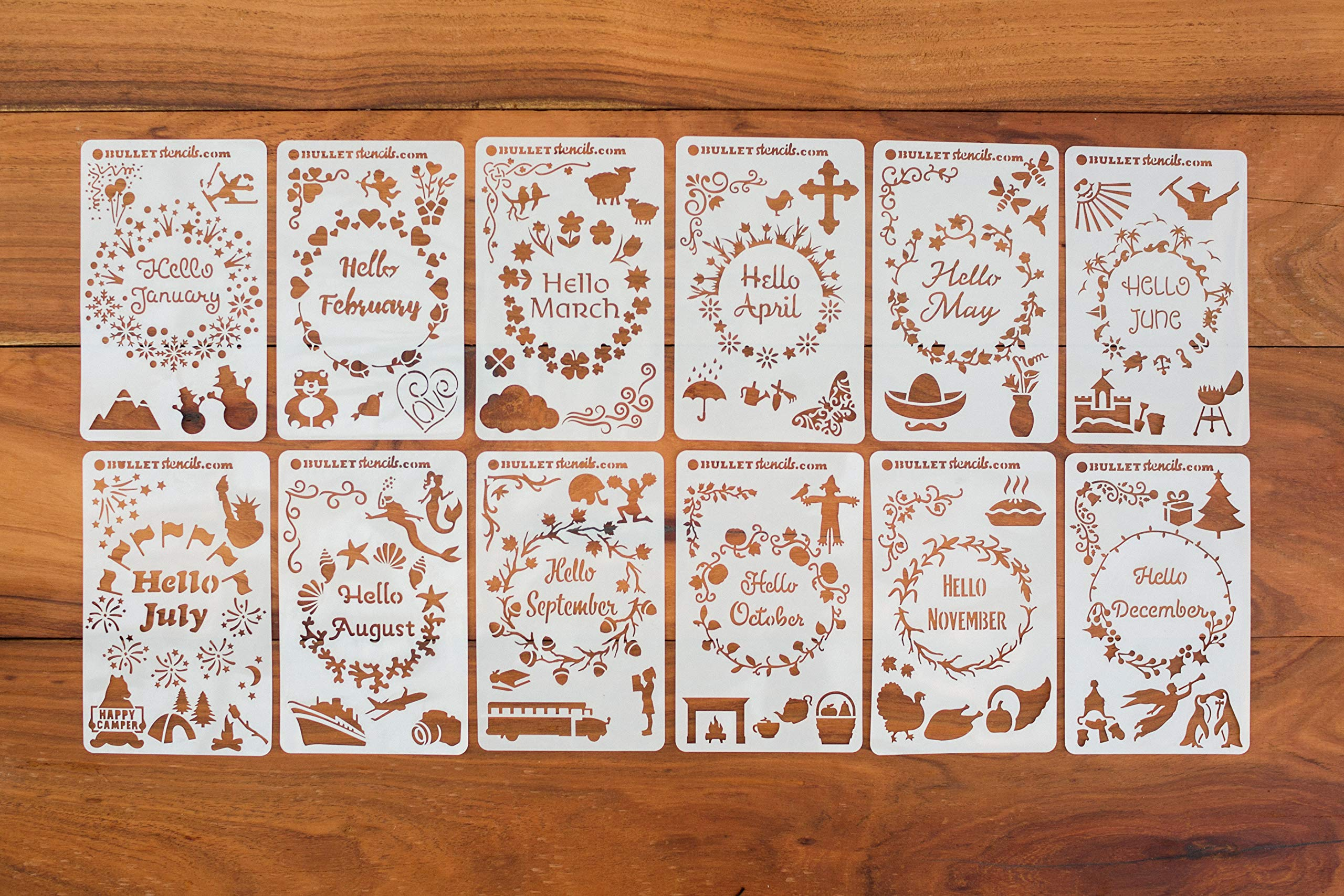 BULLETstencils Hello Months of The Year Set - Featuring 12 Journal Stencils: Includes Fun Themes, Words & Borders for Every Month of The Year! by BULLETstencils