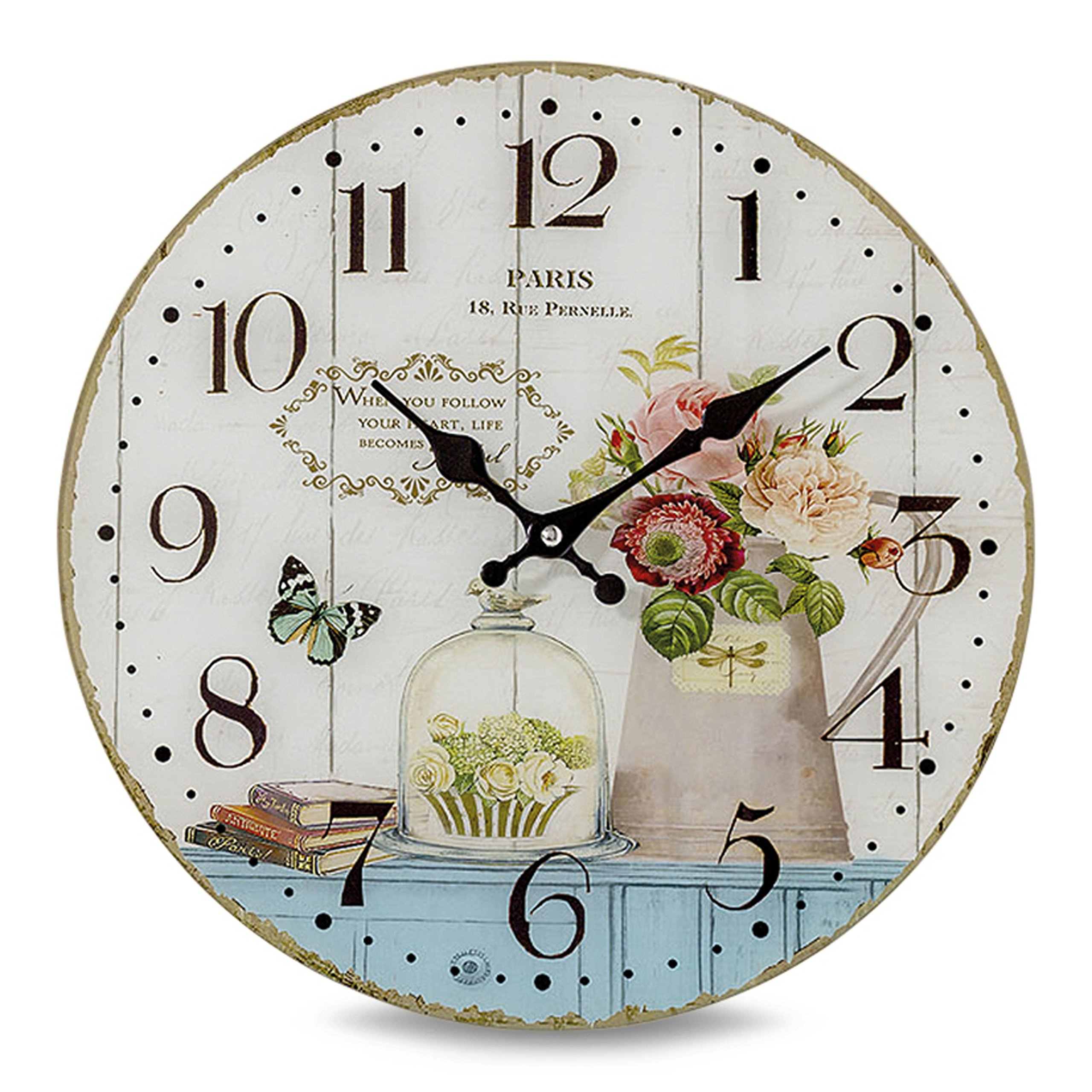Whole House Worlds The Paris Kitchen Clock,Glass, Antique Vintage Cafe Style, Over 1 Ft In Diameter, Analog Timepiece, Battery Powered, (1 AA Required) By by Whole House Worlds