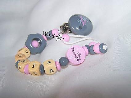 Cadena para chupete con nombres, Princesa, color rosa de ...