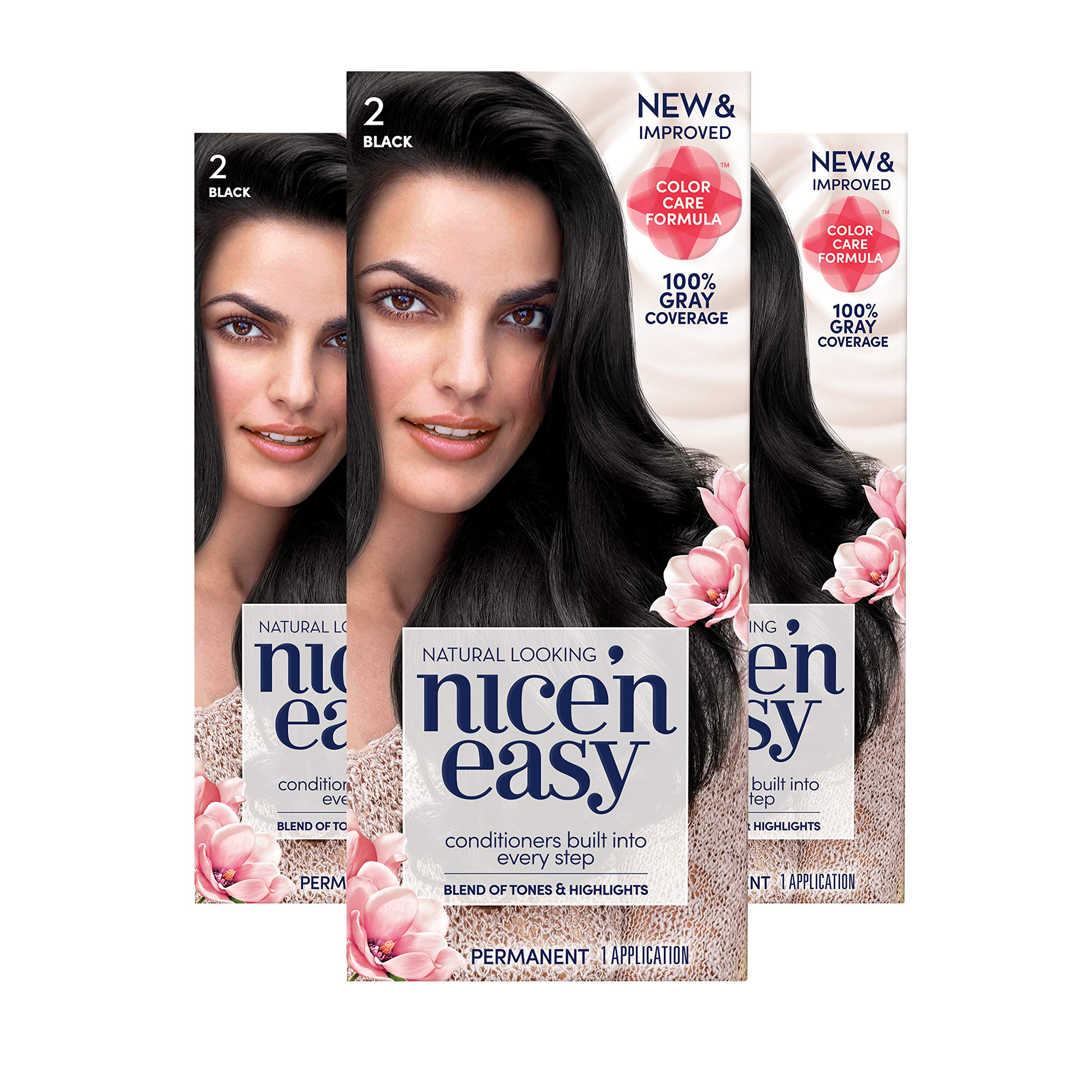 Clairol Nice 'n Easy Permanent Hair Color, 2 Black, 3 Count (Packaging May Vary) by Clairol