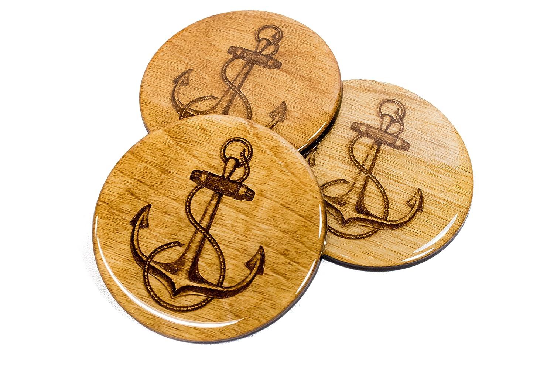 Set of 4 PREMIUM Handmade Nautical Hampton Anchor Coasters 3.5 Round Wood High Gloss Naval Decor