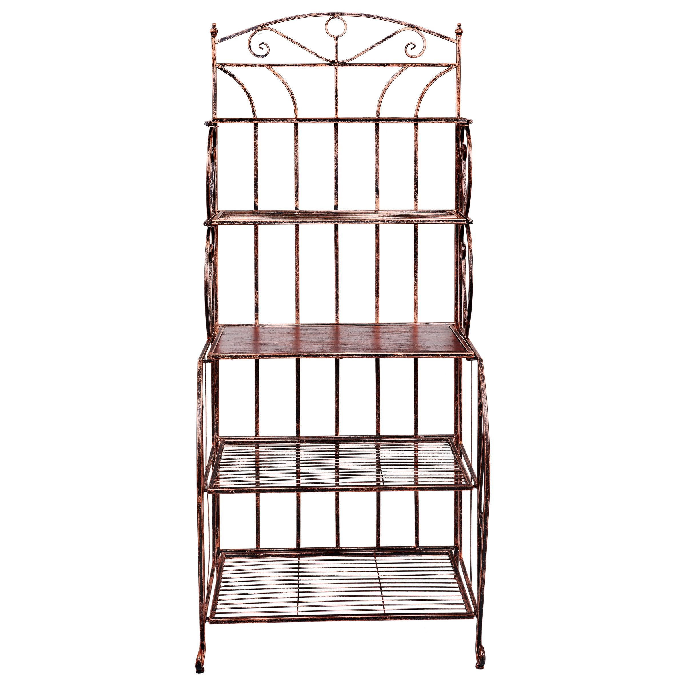 Old Dutch 610BC Saddlebrook Bakers Rack, 28'' x 19.5'' x 65.25'', Antique Copper and Rosewood