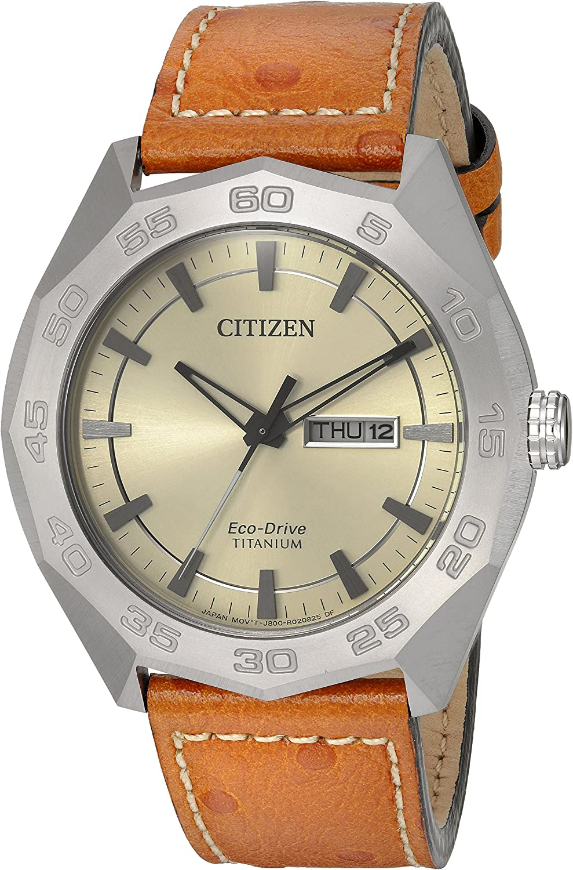 Citizen Men s Super Titanium Japanese-Quartz Watch with Leather Calfskin Strap, Brown, 22 Model AW0060-11P