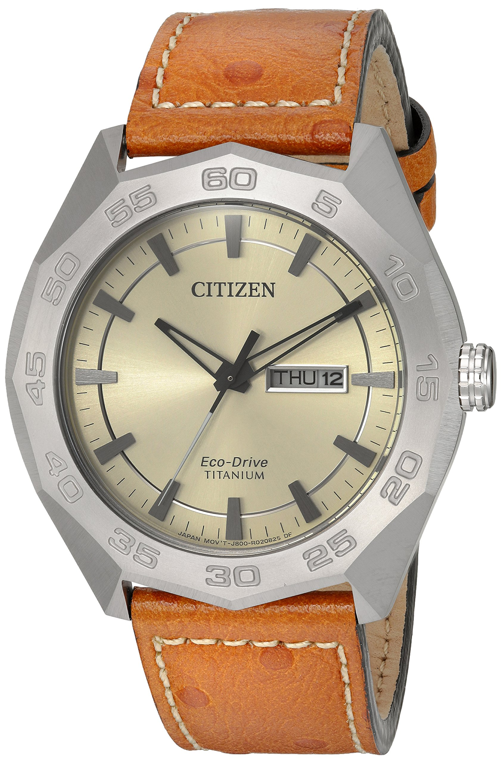 Citizen Men's 'Super' Quartz Titanium and Leather Casual Watch, Color:Brown (Model: AW0060-11P)