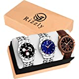 Rizzly Combo of 3 Fashionable Metal-Leather Watch-for Men