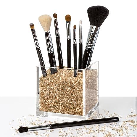 makeup brush cup. acrylic makeup organizer \u0026 counter top brush cup holder with gold diamond beads. # amazon.com