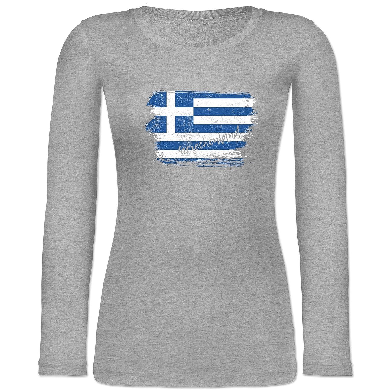 2121c35905bf76 85%OFF Shirtracer Länder - Griechenland Vintage - Langarmshirt Damen Grau  Meliert S5Iy65yT