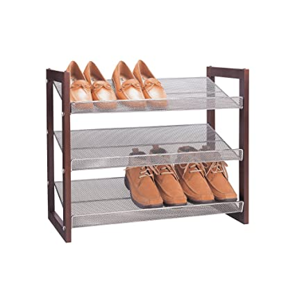 Organize It All 3 Tier Wood Frame Shoe Storage Rack