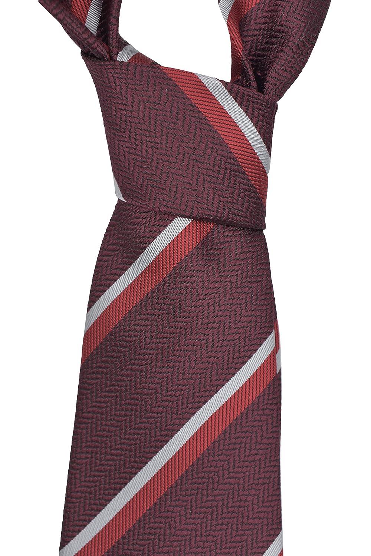 25c8a5bf Ermenegildo Zegna Burgundy Striped Silk Tie at Amazon Men's Clothing ...