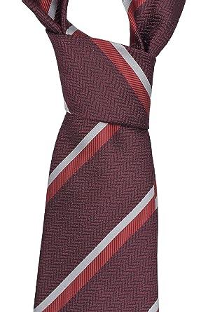 cd119de8b1 Ermenegildo Zegna Burgundy Striped Silk Tie at Amazon Men's Clothing ...