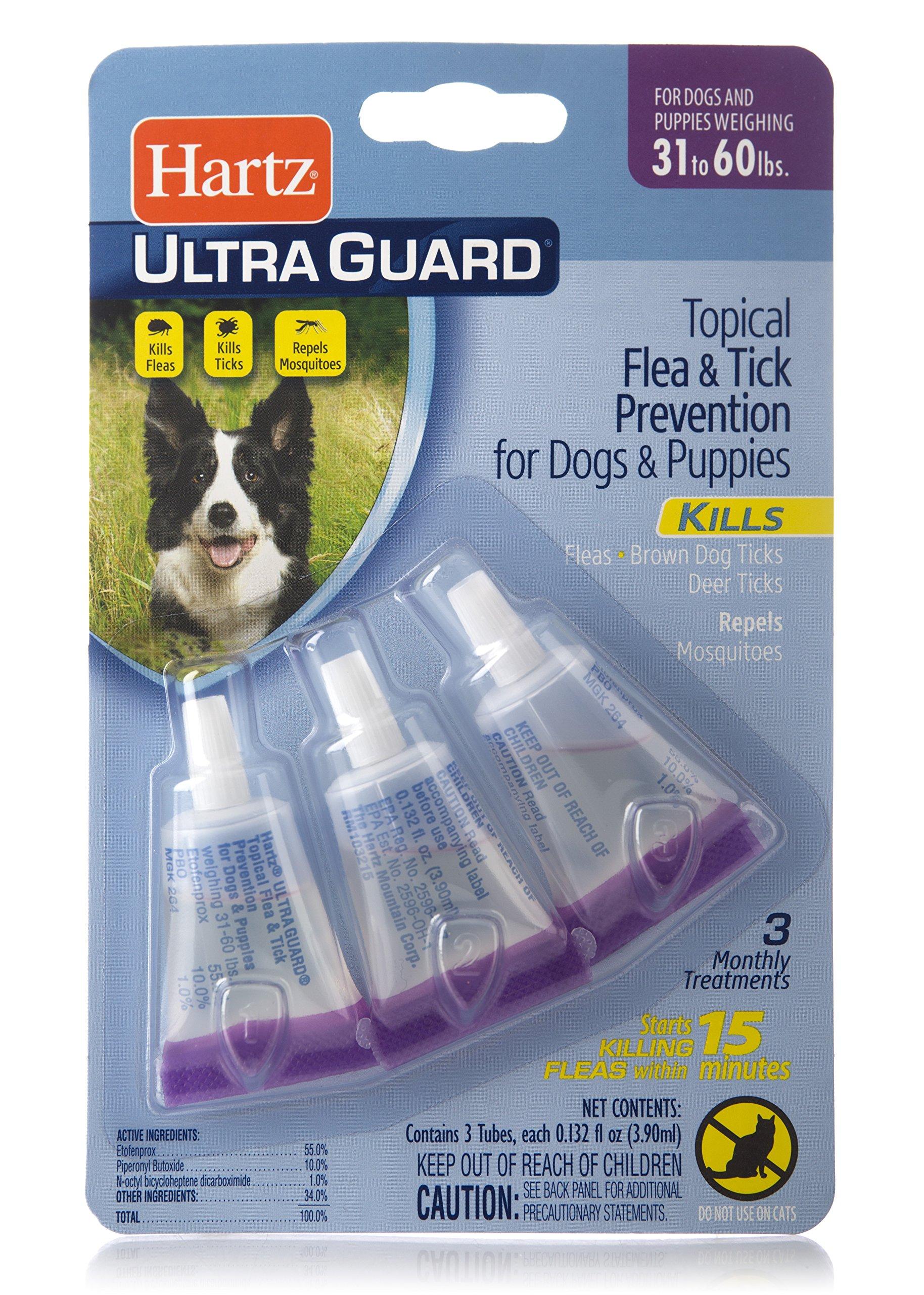HARTZ UltraGuard Flea & Tick Drops for Dogs & Puppies 31-60lbs - 3 Monthly Treatment