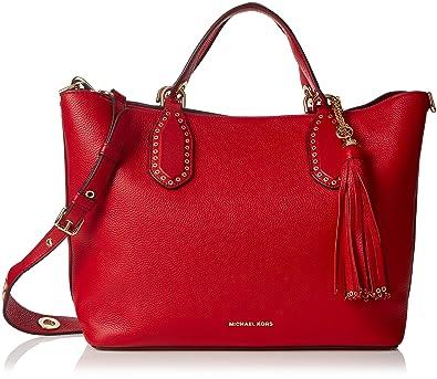 b46413673c69 Michael Kors 30S7GBNS3L Womens Brooklyn Satchel Red (Bright Red)  Handbags   Amazon.com