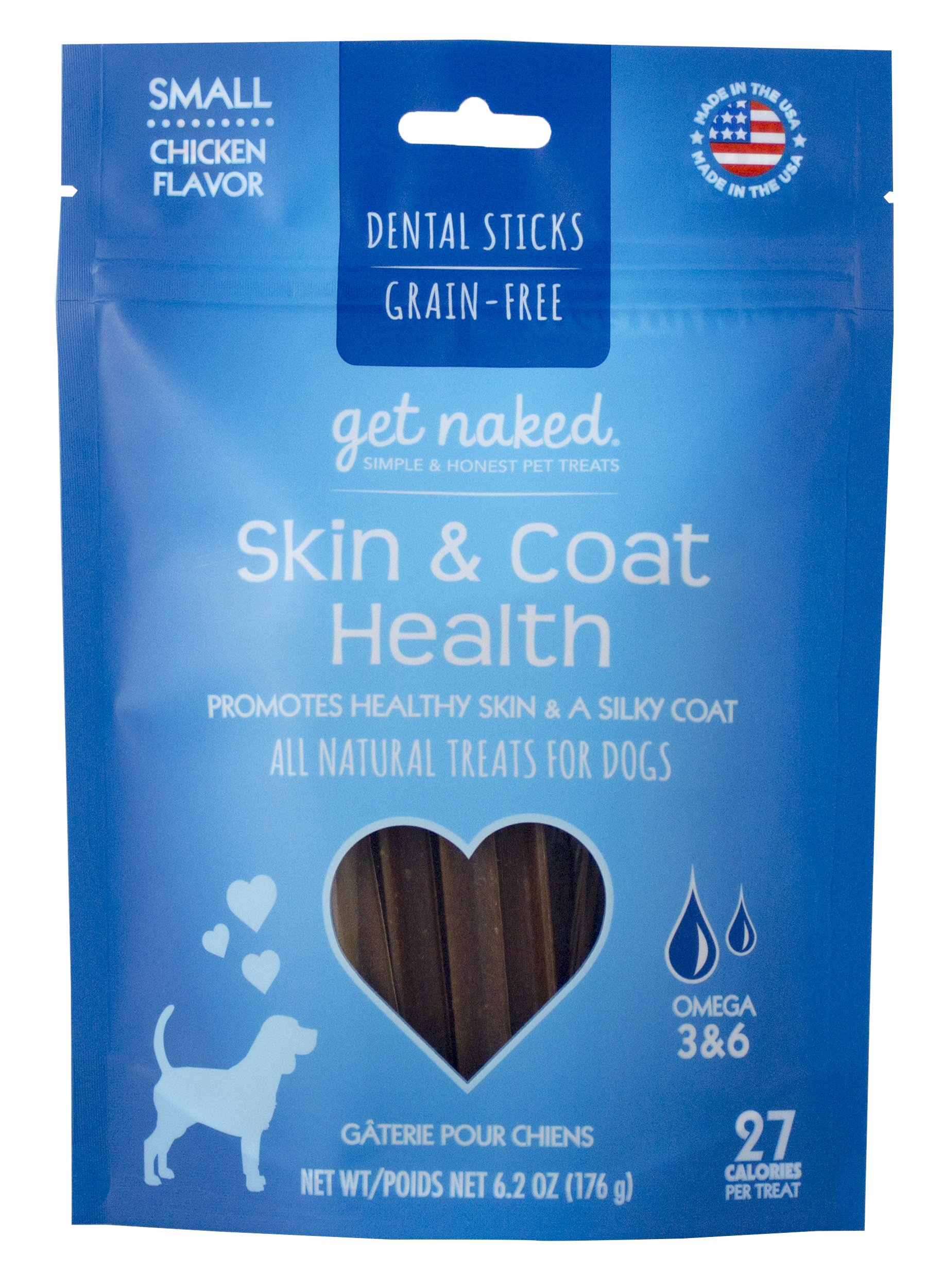 Get Naked Grain Free Pouch Skin & Coat Dental Chew Sticks Small 6.2 oz