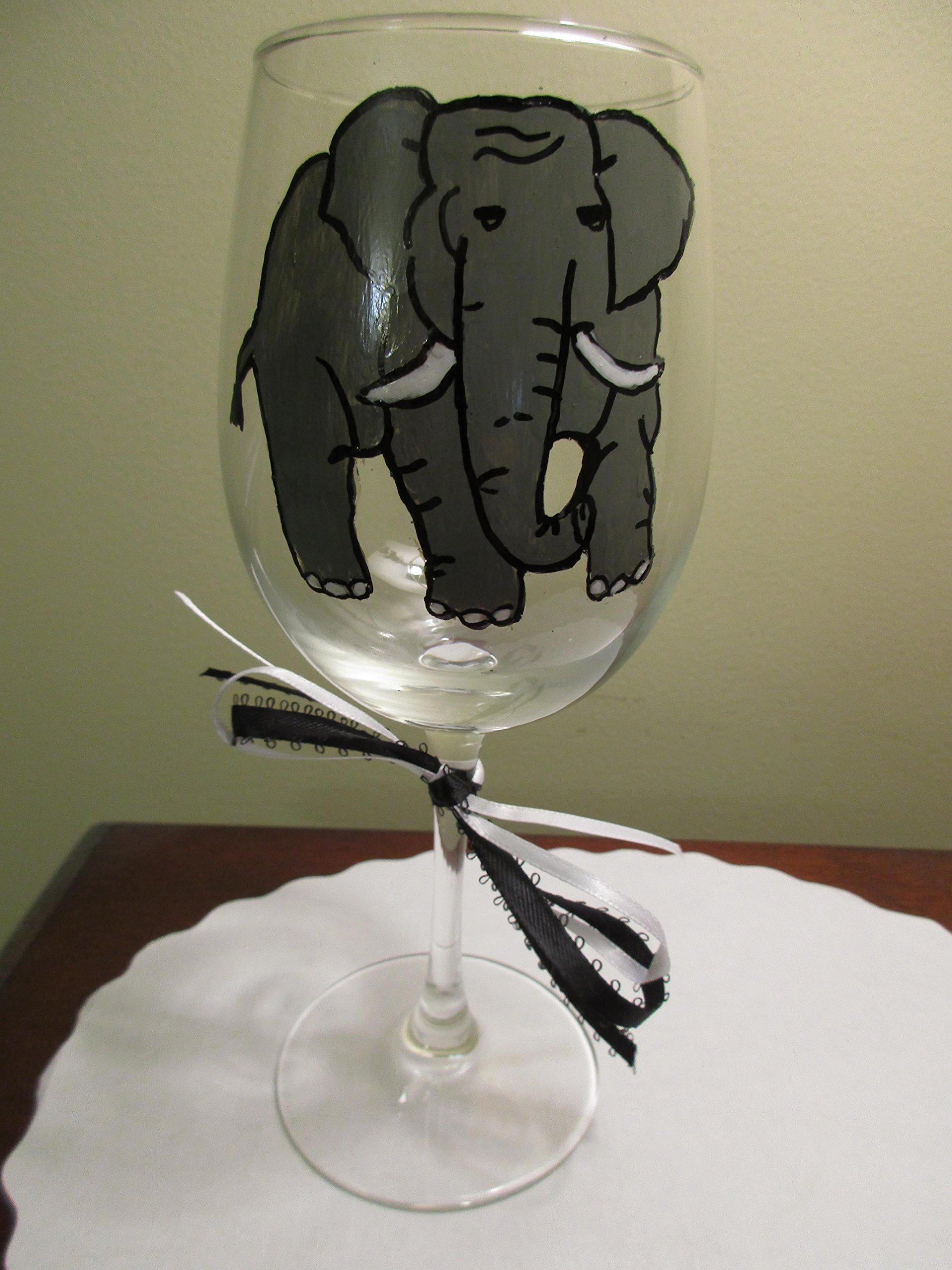 Hand Painted Wine Glass Elephant 12 oz Zoo Animal