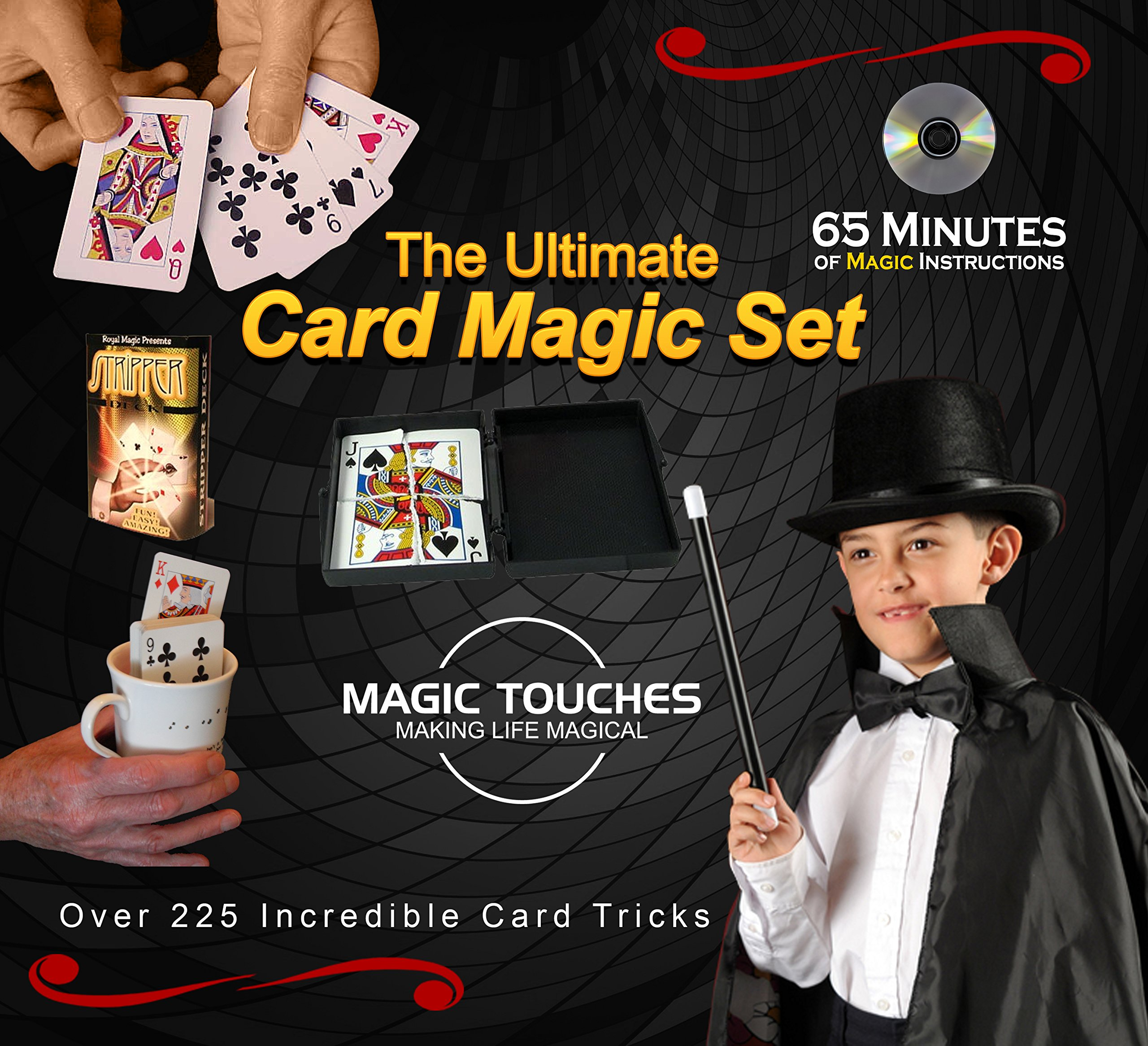 Magic Card Tricks Set - The Ultimate Card Magic Set for Kids and Grown-ups Alike - Over 300 Incredible Card Tricks Revealed in This Amazing Magic Set - Made in USA and Includes 65 Minute DVD Tutorial by Magic Touches Making Life Magical