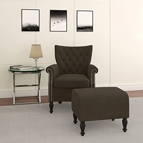 Deal of the week: Domesis Button Tufted Rolled Arm Chair and Ottoman Brown Velvet