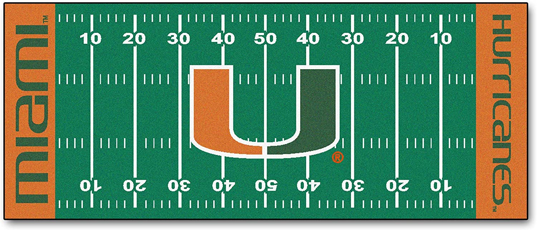 Fanmats Miami FL Hurricanes Football Field Runner