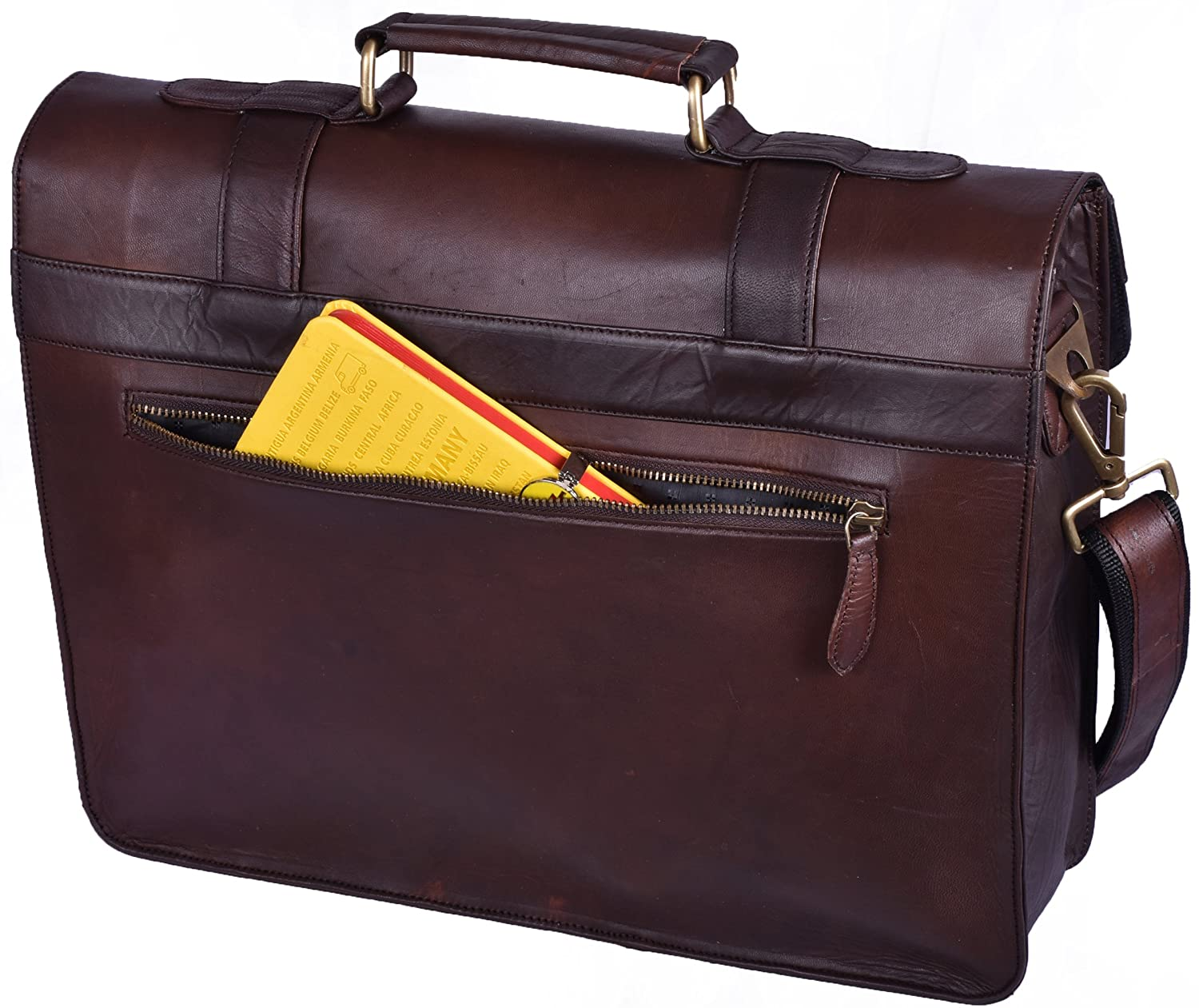 Handmade World Leather Briefcase for Men Women Messenger Bags 16 Inch Brown  Vintage Distressed Look Best Laptop ... 60362348152b3
