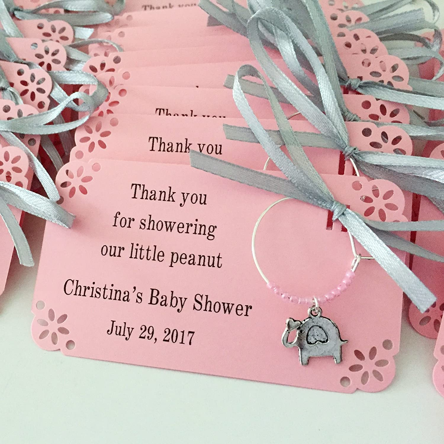 Amazon.com: 1 to 150 elephant themed wine charms for baby shower ...