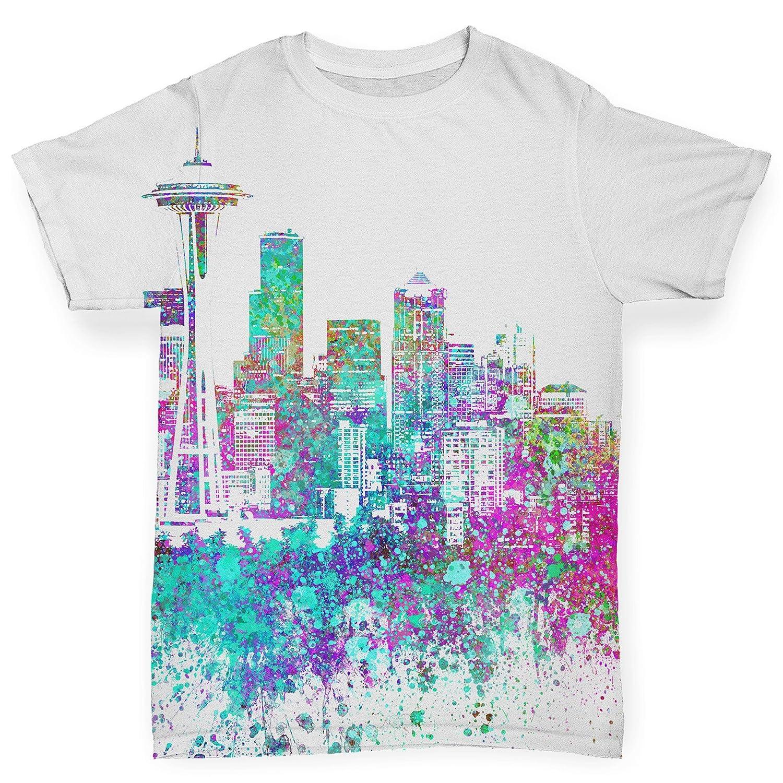 Amazon Twisted Envy Seattle Skyline Ink Splats Baby Toddler