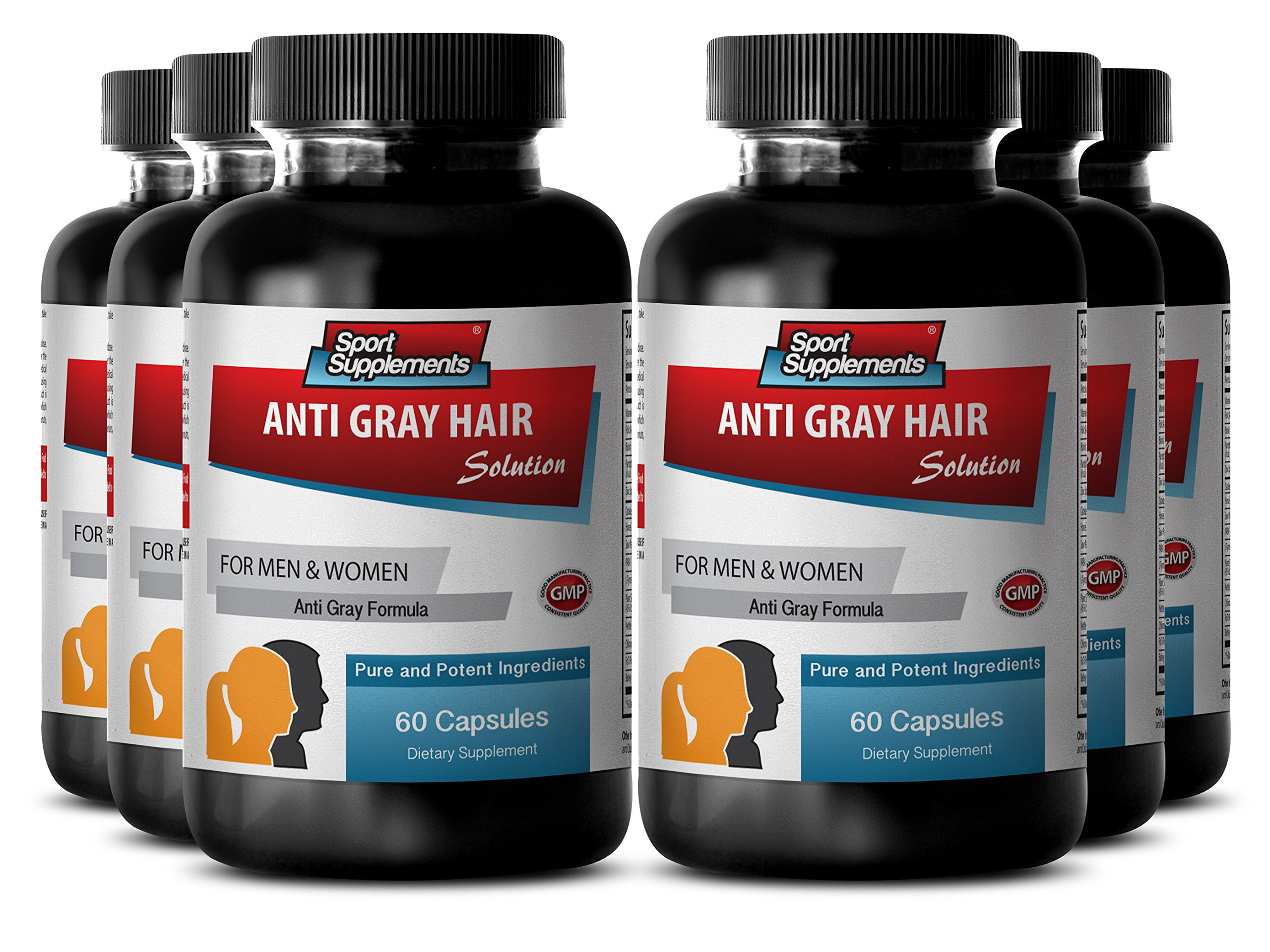 Catalase for grey hair - Anti Gray Hair - Gray hair anti, Biotin powder (6 Bottles - 360 Capsules) by Sport Supplement