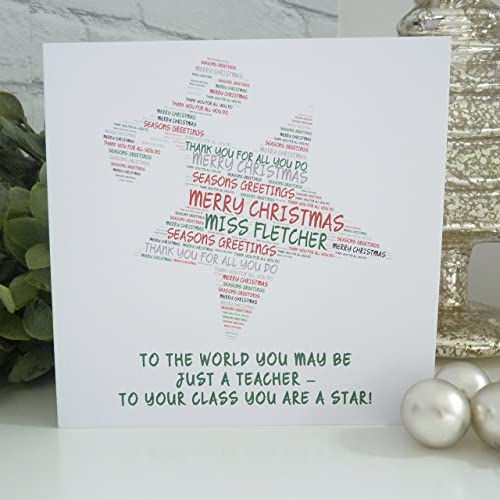 personalised star teacher christmas card personalised christmas card