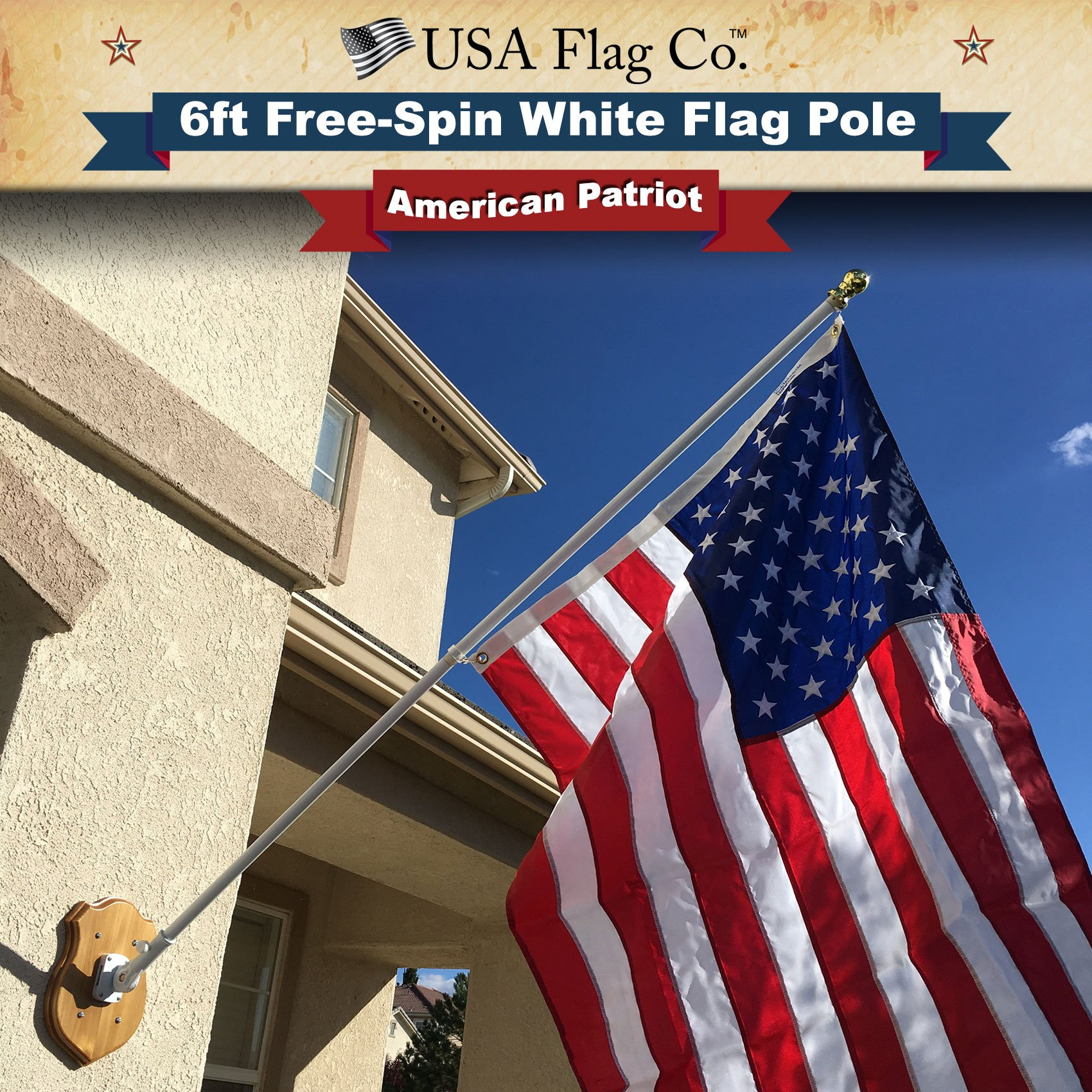 USA Flag Co. Flag Pole by Free-Spin Anti-Wrap Residential or Commercial 6 ft. 1-Inch Diameter Outdoor Flagpole (Vivid White)