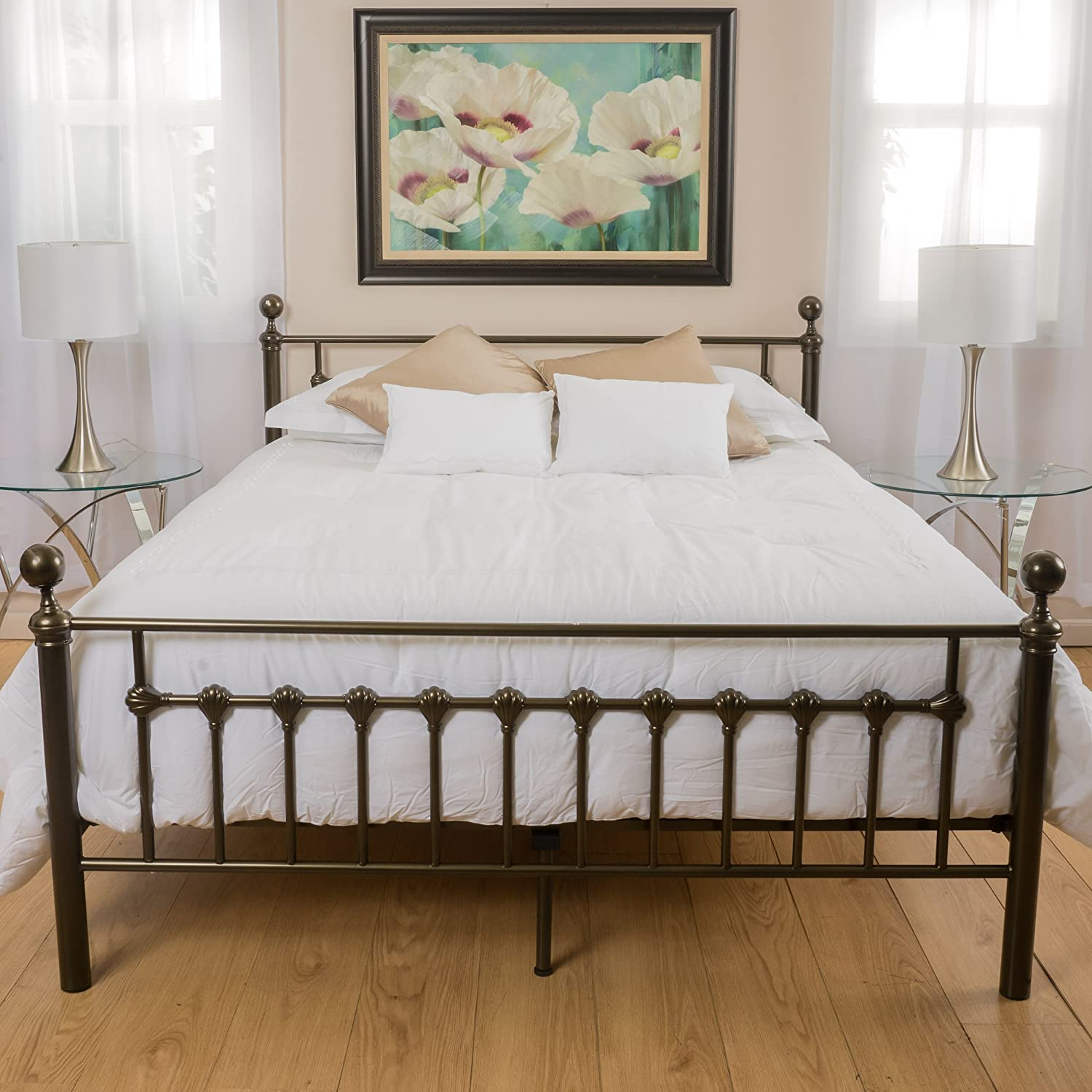 Amazon.com: Bradford Cal King Dark Copper Gold Bed Frame: Kitchen ...