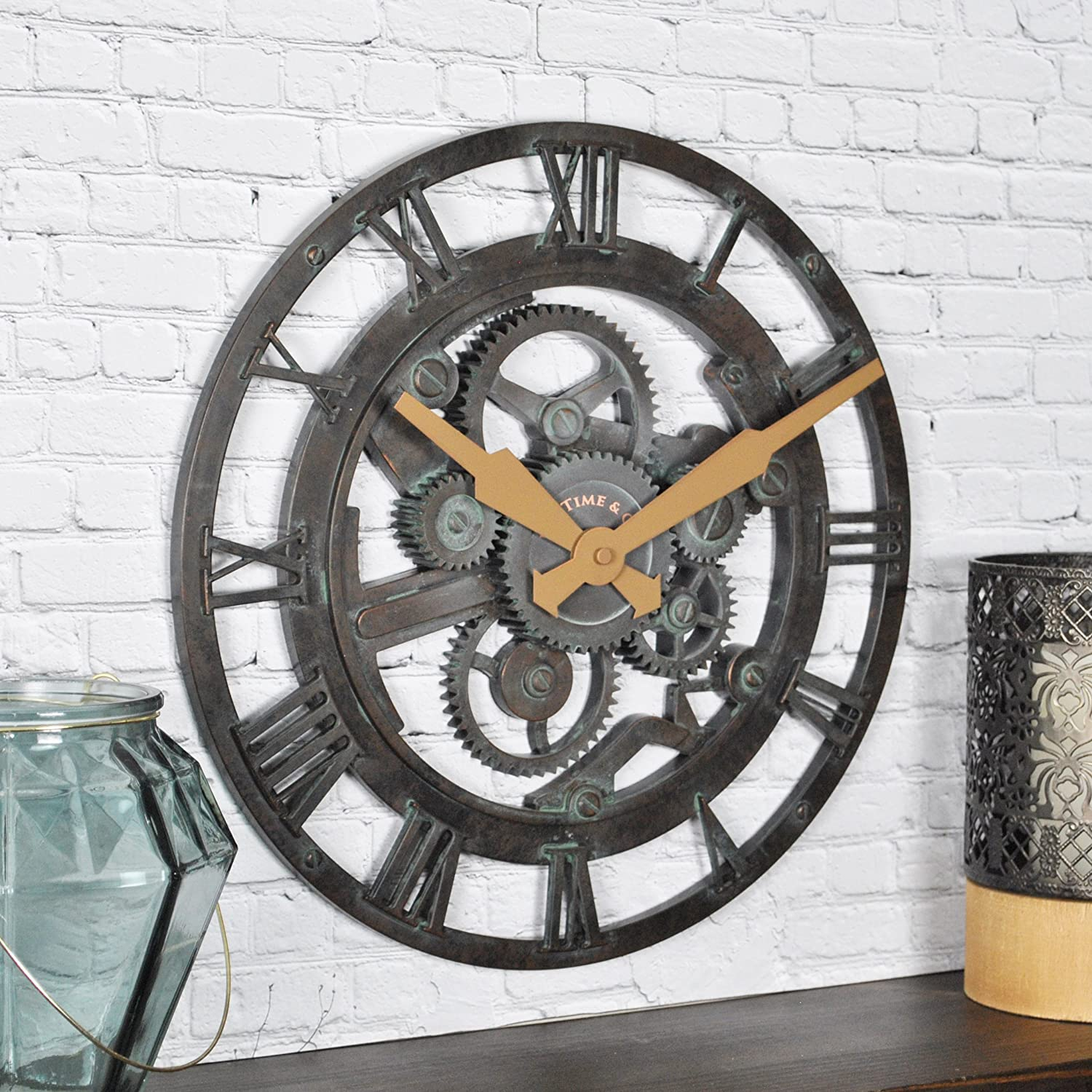 "FirsTime & Co. Oxidized Gears Wall Clock, 15"", Metallic Teal"