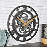 "FirsTime & Co. Oxidized Gears Wall Clock, 15"", Metallic Teal"
