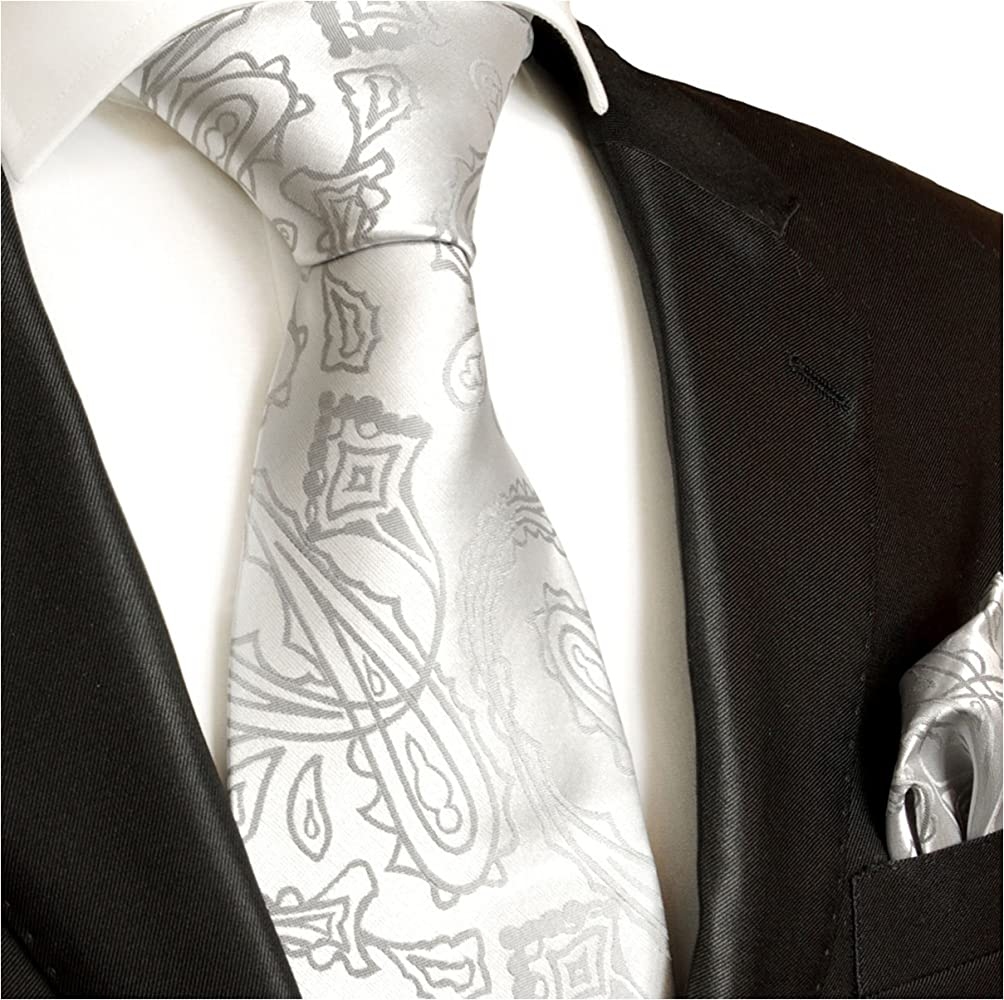 Paul Malone - Corbata de boda - Paisley - Hombre Plateado plata ...