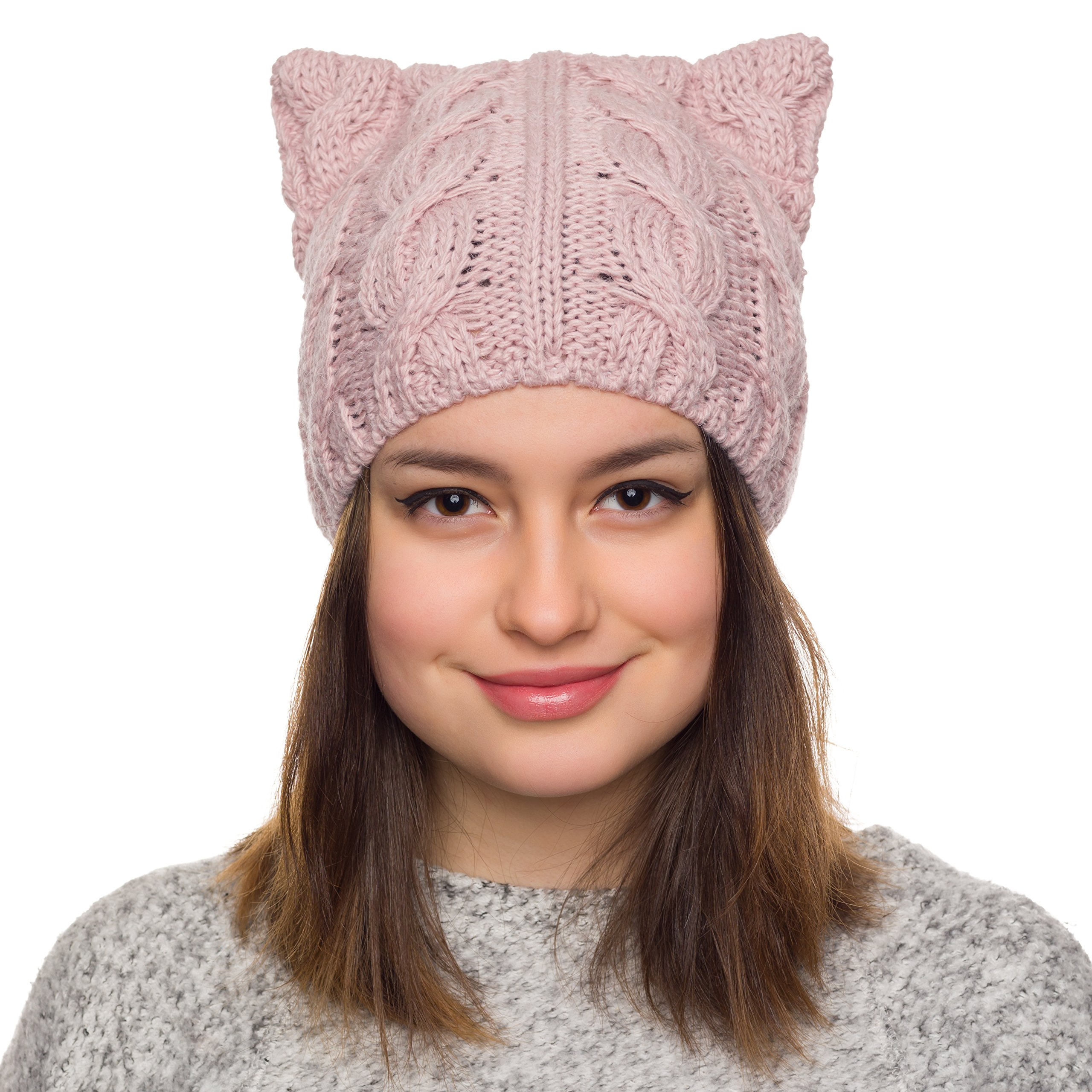 PussyCat Hat Womens March-Spring Hats for women-Cable knit beanie (Dusty pink)