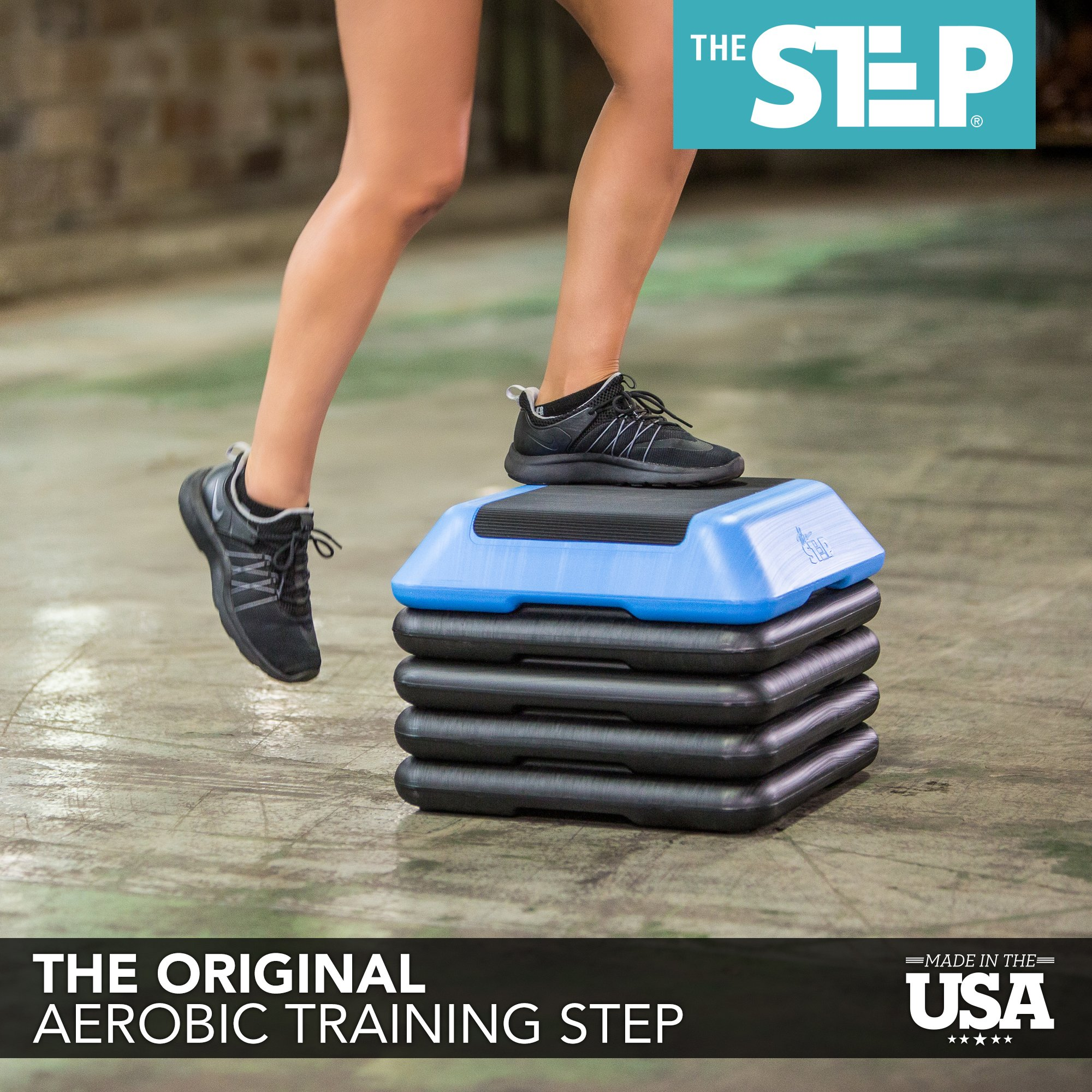 """The Step 13'' Aerobic Exercise Platform with Adjust 4"""" 6"""" 8'' 10'' 12'' Exercise Stepper for Sports & Fitness Step Platform with Adjustable Risers Made in USA by Kinelo (Image #7)"""