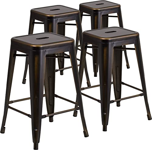 Flash Furniture Commercial Grade 4 Pack 24 High Backless Distressed Copper Metal Indoor-Outdoor Counter Height Stool