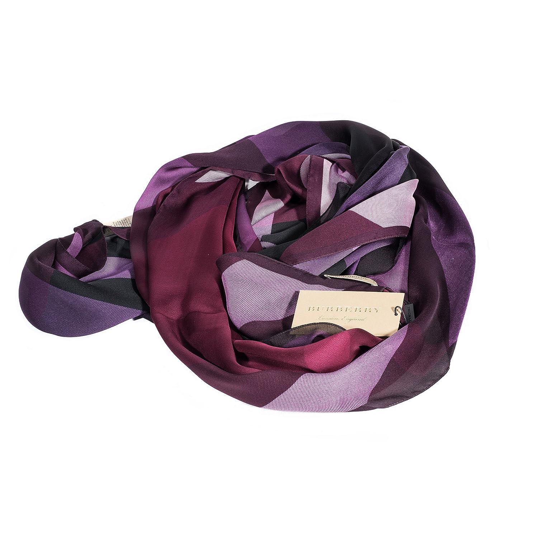 c1f5fd796cd2 Burberry Foulard en soie à carreaux pourpre léger  Amazon.fr  Vêtements et  accessoires