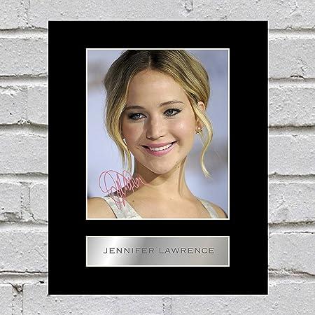 Jennifer Lawrence firmado foto enmarcada