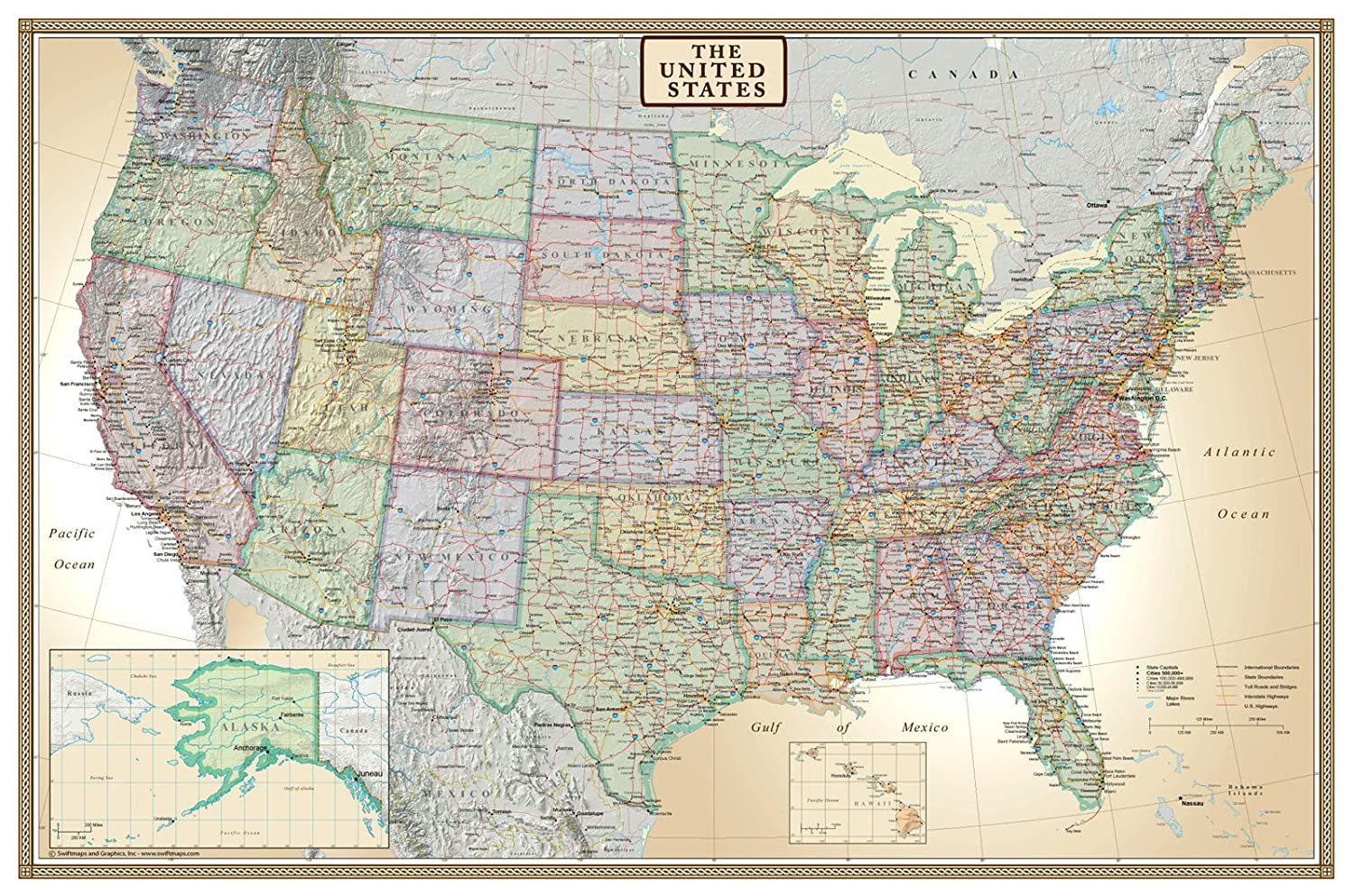 Classic Elite United States Wall Map Poster Amazoncom X - Map of the us poster size