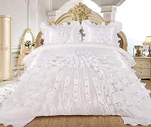 Empire Home Ahlam 3 Piece Real 3D Comforter Set Bedspread Flower Ruffle Oversized Queen/King (White, Queen)