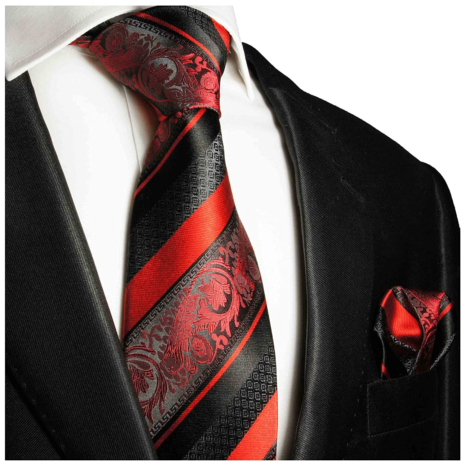 Red and Black Silk Tie and Pocket Square . Paul Malone Red Line