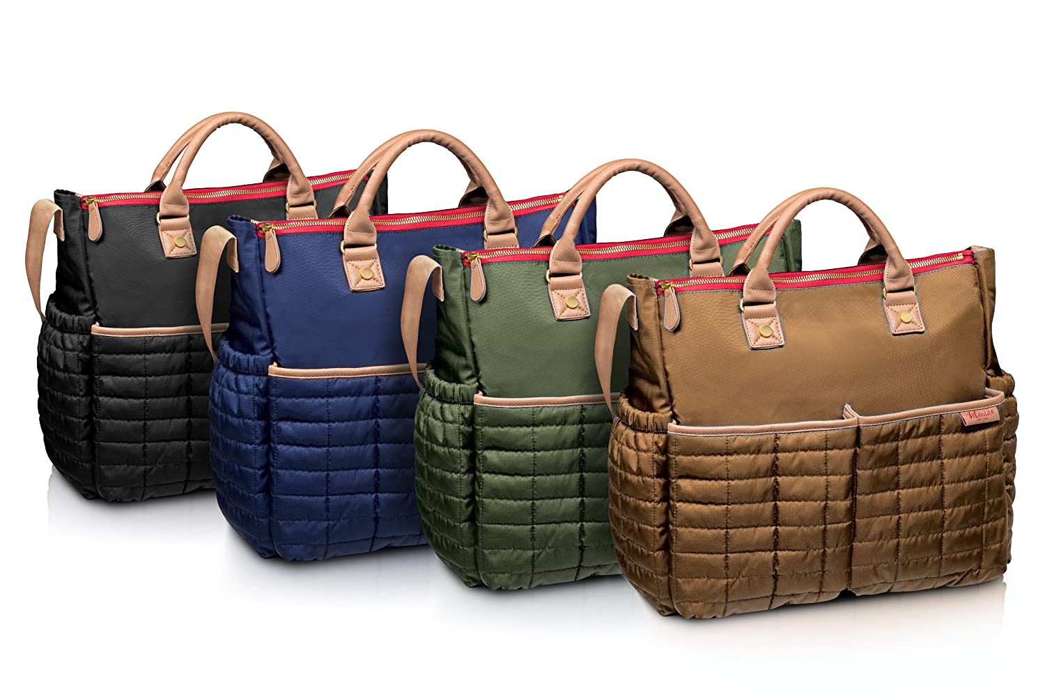 5df370bf038e Amazon.com : Diaper Bag, Nappy Bag by Maman - with Matching Changing Pad -  Stylish Designer Tote for Moms - for Baby Boys and Girls - PATENTED : Baby