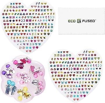 Eco Fused 380 Tlg Aufkleber Für Ohrringe Und 7 Paar Ohrringe Zum Anclipsen Für Mädchen Jugendliche Und Erwachsene Keine Piercings Erforderlich Spielzeugschmuck Zum Schick Machen Spielzeug