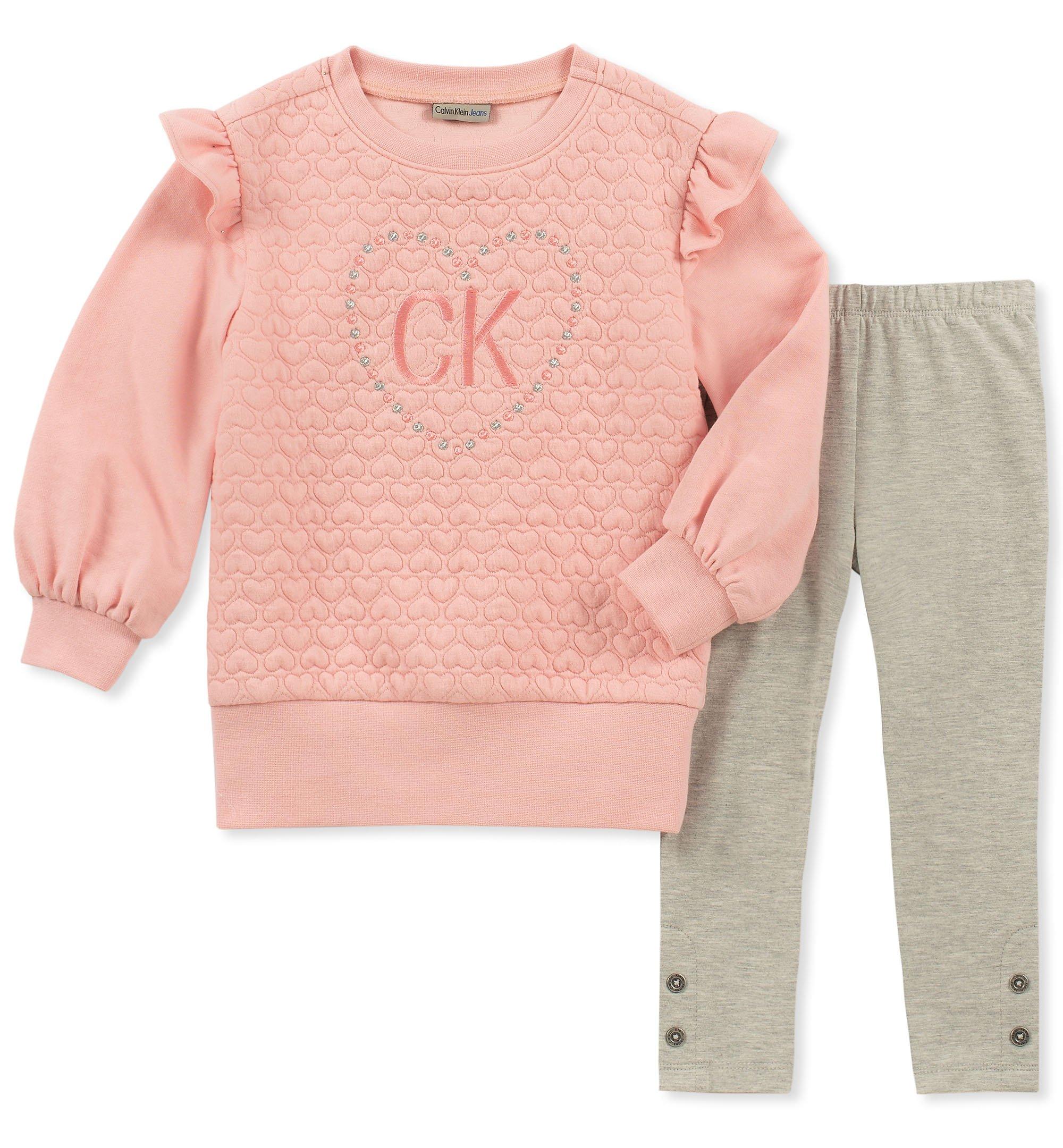 3a527fd4f44 Calvin Klein Baby Girls 2 Pieces Tunic Set, Strawberry crème/Gray, 12M