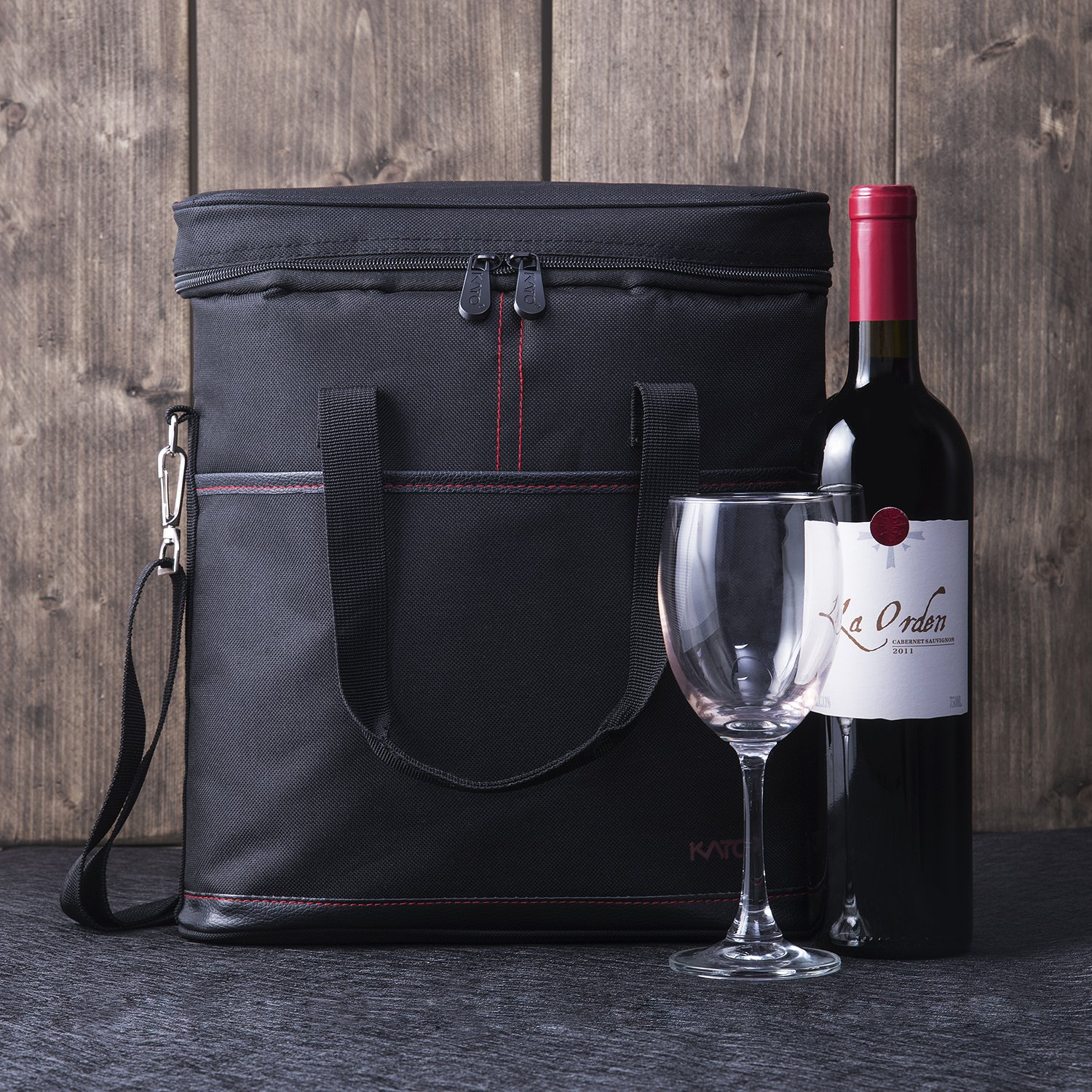 Tirrinia Insulated Wine Carrier - 3 Bottle Travel Padded Wine Carry Cooler Tote Bag with Handle and Adjustable Shoulder Strap + Free Corkscrew, Black by Tirrinia (Image #7)