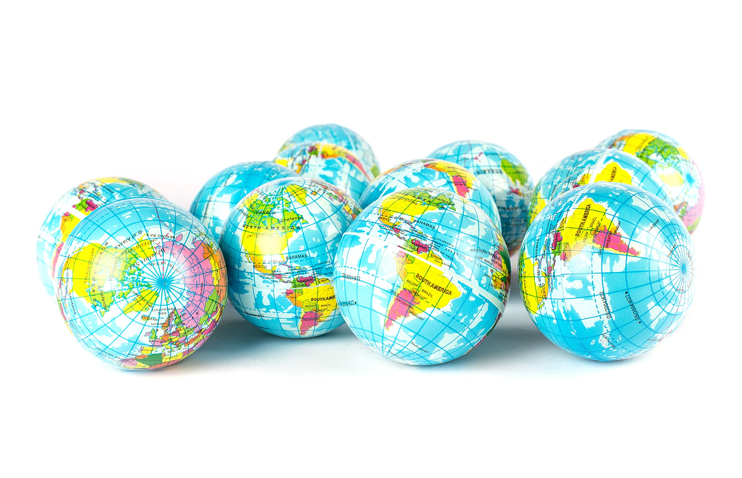 Globe Squeeze Stress Balls Earth Ball Stress Relief Toys Therapeutic Educational Balls Bulk 1 Dozen 3'' Stress Balls