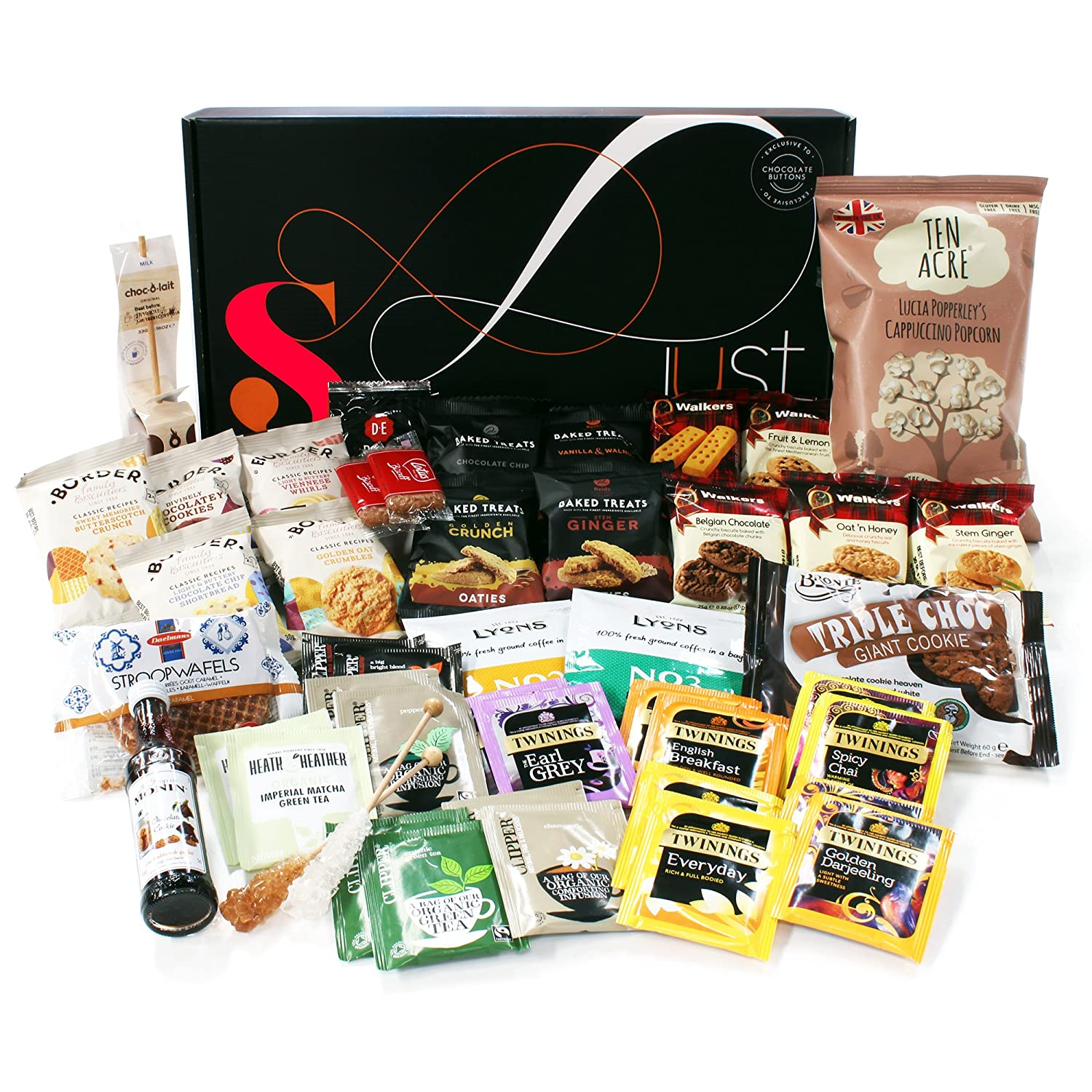 Deluxe tea biscuits hamper presented in a red gift box gift tea time gift hamper just treats solar gift box jam packed with the best negle Gallery