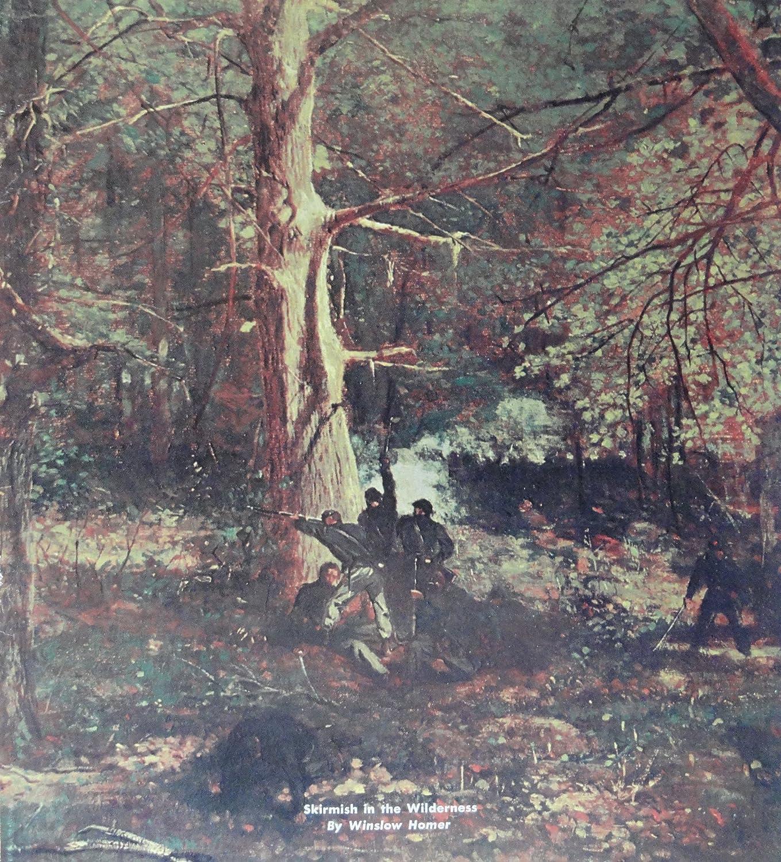 "Winslow Homer painting, 60's Magazine Cover art, Color Illustration, Civil War Print art (""Skirmish in the Wilderness"") Original Vintage, 1969 Civil War Times Illustrated Magazine cover Print Art"