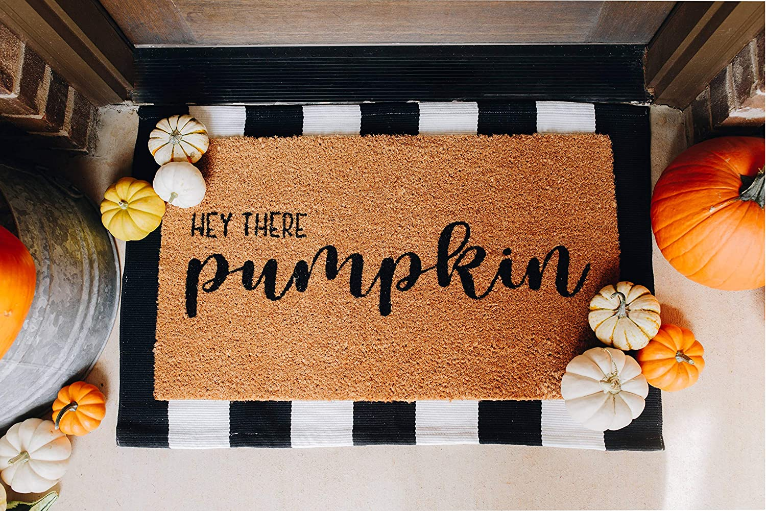Coconut Coir and Woven Doormat Combo Inside or Outside Pet Friendly Rug for Entry Porch or Patio Layered Outdoor Hey Pumpkin Mat Set 17-inch x 30-inch Black and White Stripe 24-inch x 35-inch